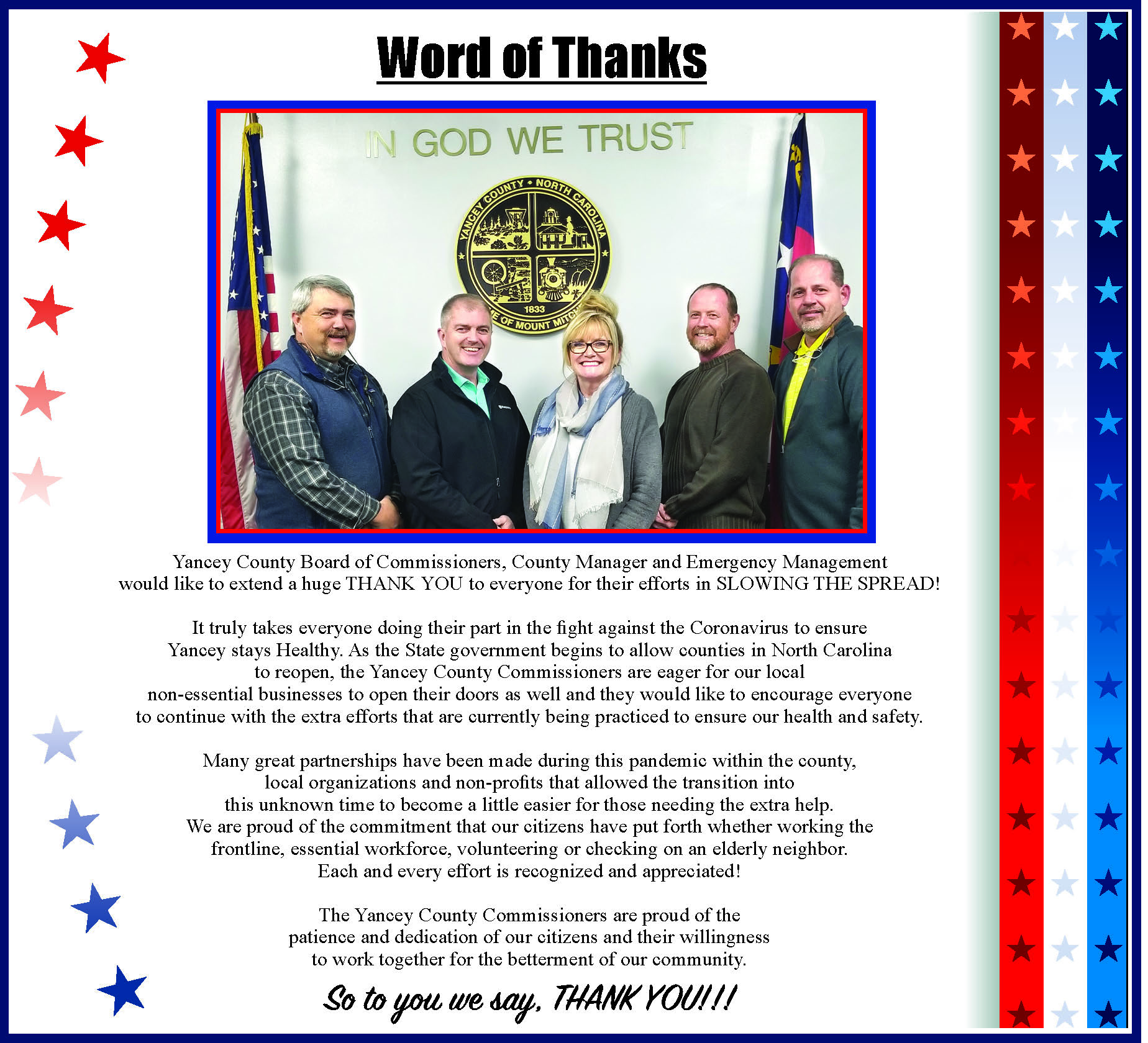 Yancey CountyCommissionerMessage